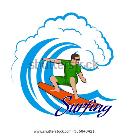 young man on a wave color clipart - stock vector