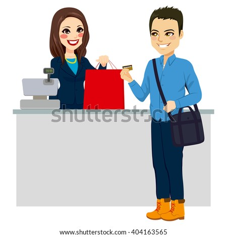 Young man paying purchase with credit card while female store clerk is giving shopping bag - stock vector