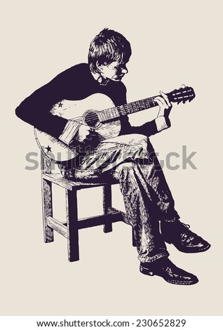 young man playing an acoustic guitar. linocut style. vector illustration - stock vector