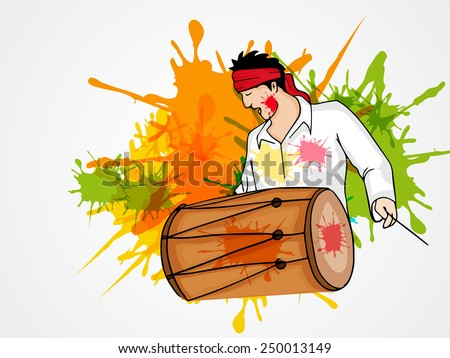 Young man playing drum on splash background for Indian festival of colors, Holi and Dolyatra celebration. - stock vector