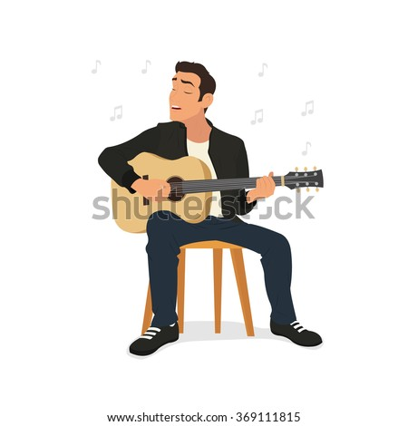 young man playing guitar and sings a song. vector illustration. - stock vector