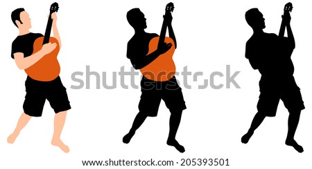 young man playing guitar, vector - stock vector