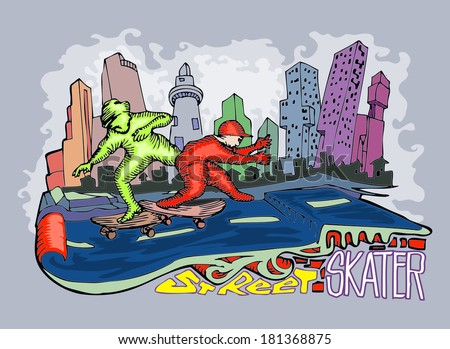 young man playing skate board, with building background hand drawn illustration - stock vector