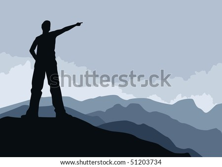 Young man pointing on mountain peak. vector illustration. Elements are layered separately. - stock vector