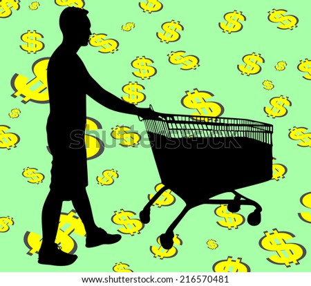 Young man pushing shopping cart, vector  - stock vector