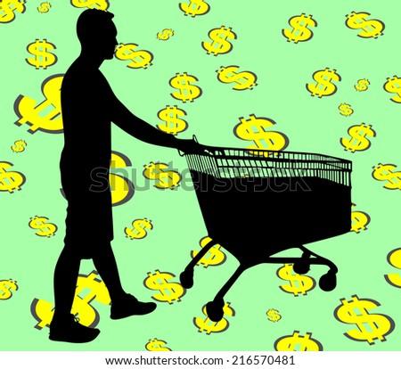 Young man pushing shopping cart, vector  - stock vector