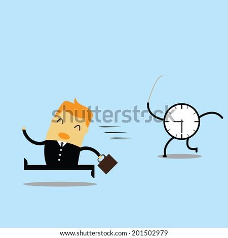 young man ran the clock symbol - stock vector