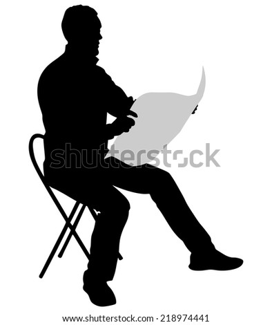 Young Man Reading Newspaper, vector