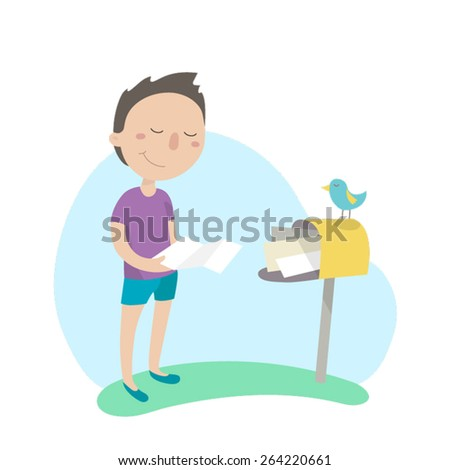 Young man reads a letter near a mailbox. Flat design, vector illustration. - stock vector