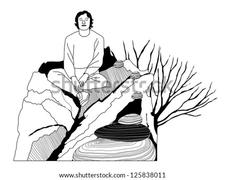 Young Man Relaxing Sitting on a Rock - vector illustration - stock vector