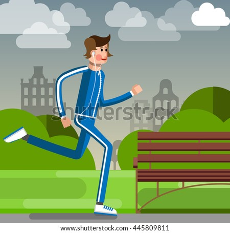 Young man running in the park. Vector illustration of a flat design. Relax on the weekend in the city.  Morning jog to set the mood. Health for many years. Listen to music on the player. - stock vector