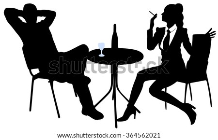 young man sitting in a bar and drinking wine while his girl sitting and smoking cigar