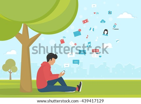 Young man sitting in the park under a tree and texting messages using smartphone. Flat modern illustration of social networking, searching and sending email and texting to friends in social networks - stock vector
