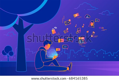 Young man sitting in the park under a tree and texting messages using smartphone. Gradient line vector illustration of social networking, searching news, sending email and texting to friends