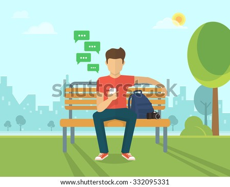 Young man sitting in the street and sending a message via chat to someone using his smartphone. Mobile chat vector - stock vector