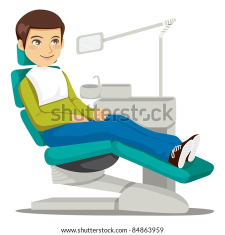 Young man sitting on the dentist chair waiting the doctor - stock vector