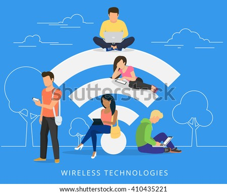 Young man sitting on the wi-fi white sign and using laptop, women reading news on tablet, guy holds smartphone and teenager sitting with laptop. Flat illustration of social networking with gadgets - stock vector