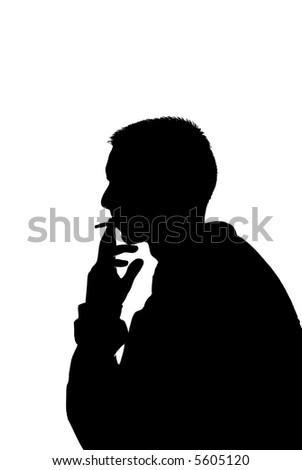 young man smoking (vector illustration) - stock vector