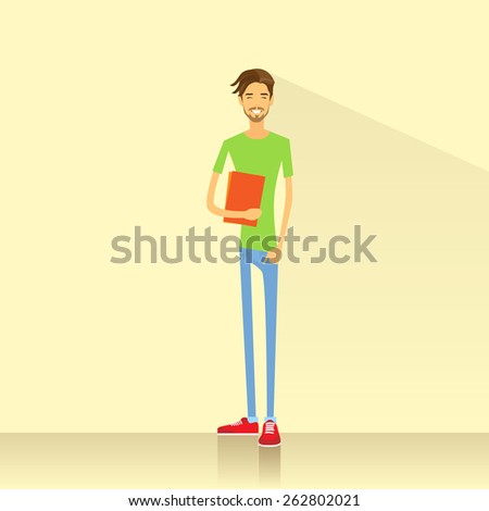 Young man student hold books casual clothes flat design vector illustration