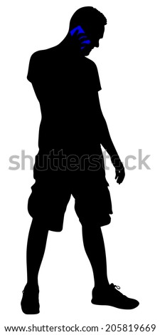 young man talking on cellphone, vector - stock vector