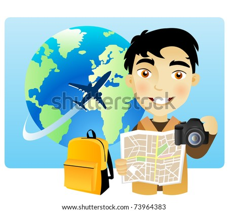 Young man traveling around the world with a map and a camera - stock vector