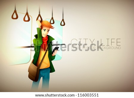 Young man traveling on metro texting on phone | City Life Series | Vector EPS10 with organized layers - stock vector