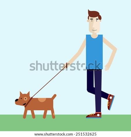Young man walking dog. Modern flat illustration.  - stock vector