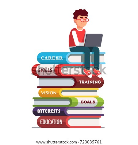 Young man wearing sitting on big books stack representing his skills and knowledge working on laptop computer. Education & professional career establishment basics metaphor. Flat vector illustration.