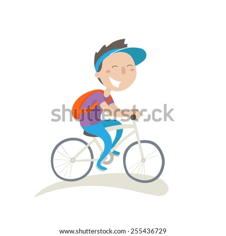 Young man with backpack on a bike, flat illustration - stock vector