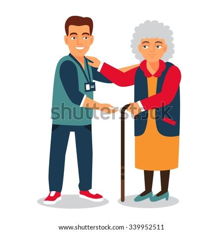 Young man with badge helping an old lady. Elder people care and nursing. Flat style vector illustration isolated on white background. - stock vector