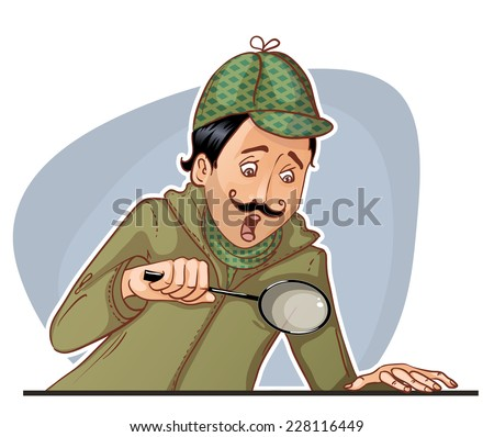 Young man with mustache with magnifying glass, eps10 - stock vector