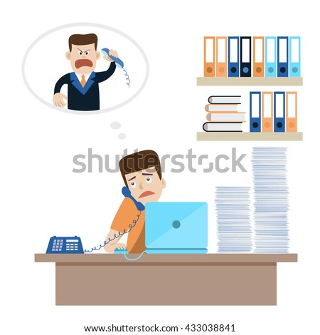 Young man with paper pile on the table answering the call of angry boss or customer. Concept for lots of work, bad superiors, stressful occupation. Vector flat illustration, cartoon style. - stock vector