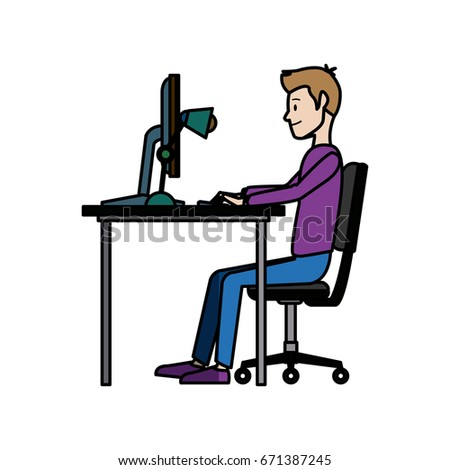 young man working on computer at office desk