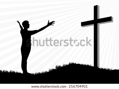 Young man worship and praise silhouette - stock vector