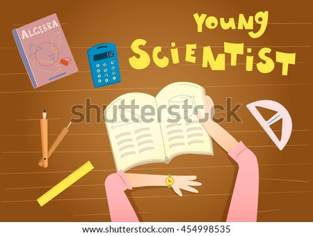 Young mathematician girl reading math book. Vector illustration of geometry, algebra books, rulers, divider, calculator, pupil. Back to school concept. Mathematical banner.  - stock vector