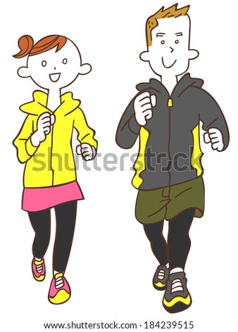 Young men and women to jogging - stock vector