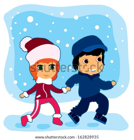 Young men and young women walking on winter vacations. Vector illustration - stock vector