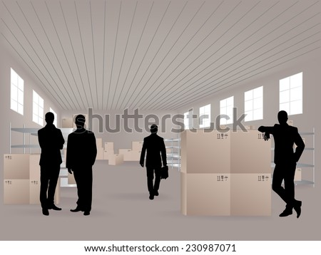 Young men in warehouse, they are from the Customer Service - stock vector