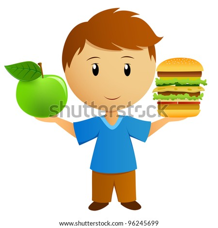Young men with apple and hamburger. Vector illustration.