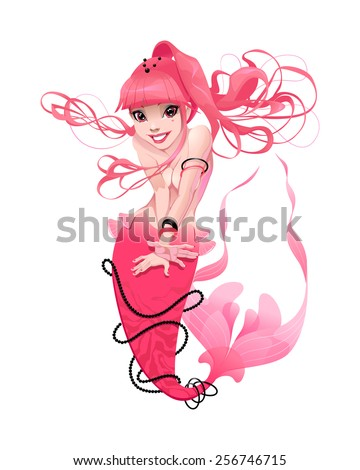 Young mermaid in pink. Funny cartoon and vector mythological character.  - stock vector