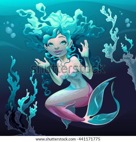 Young mermaid in the sea. Vector cartoon illustration. - stock vector