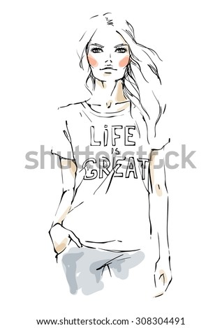 Young modern woman in a t shirt