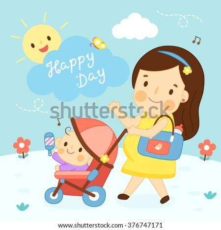 young mom and baby stroller - stock vector