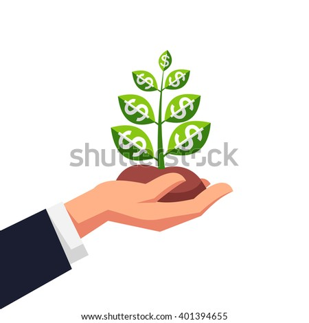 Young money or business startup sprout growing in caring hands businessman. Flat style vector icon. - stock vector