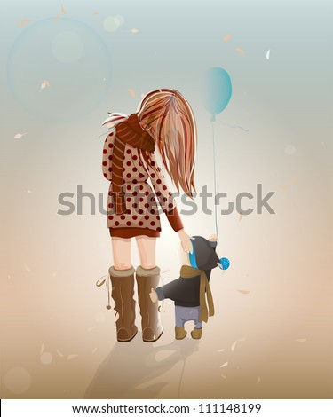 Young Mother with a Child Walking. Vector illustration of walking with a child young woman. - stock vector