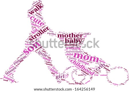 young mother with stroller silhouette tag cloud vector illustration - stock vector