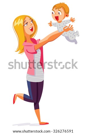 Young mum playing with baby. Funny cartoon character. Vector illustration. Isolated on white background - stock vector