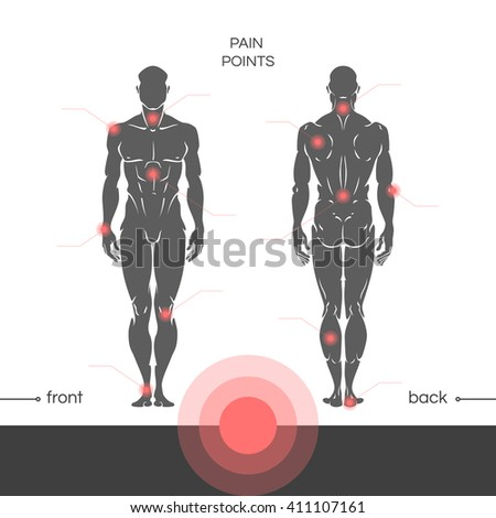 Young muscular healthy man is a full-length with a designation of points of pain in the joints. Points of pain on a man's body with the footnotes. Vector illustration isolated on white background. - stock vector