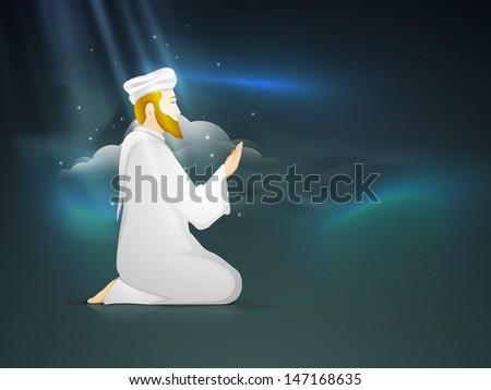 Young Muslim man praying (Namaz, Islamic prayer) in the blue sky background.  - stock vector