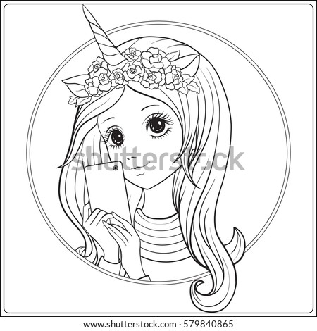 young nice girl with long hear and unicorn horn and roses on her head make selfie